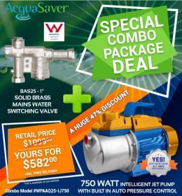 BAS25 acquasaver and pump package deal